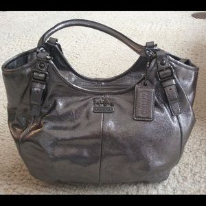 Coach Silver leather hobo bag 18x11